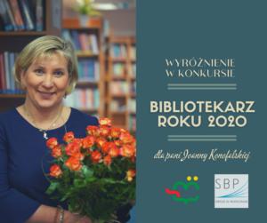 Wyróżnienie wKonkursie SBP Bibliotekarz Roku 2020